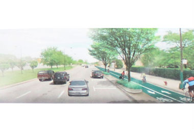 Among the options presented Tuesday was a proposal to remove one lane from the northbound side of Stony Island to create two-way bicycle lanes separated from traffic by a thin landscaped median.