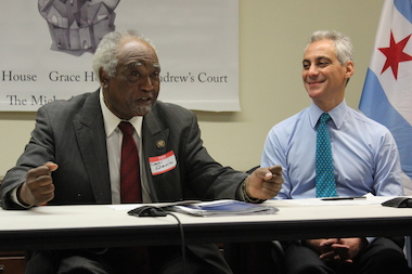 U.S. Rep. Danny Davis and Mayor Rahm Emanuel cheered the expansion of city job and housing programs for ex-offenders Friday.
