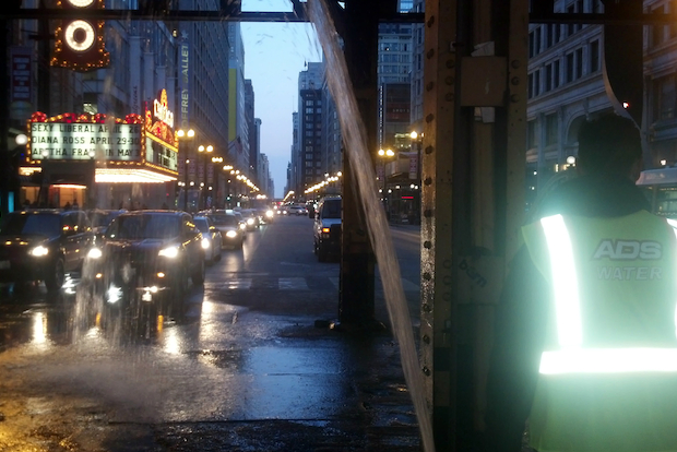 Water erupted from a broken pipe in the Loop Monday night, drenching late rush hour traffic underneath an overpass for several Chicago Transit Authority train lines.