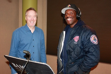 """Chicago Fire"" star Eamonn Walker, who plays Fire Chief Boden, with Bam Studios owner Brian Reed (l.) at the microphone recording lines for the hit NBC show that films on location in Chicago."