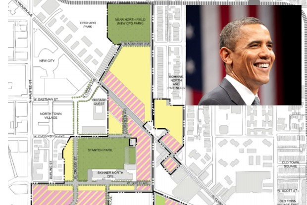 A map of the Cabrini-Green redevelopment plan shows Stanton Park, where the proposed Barack Obama College Preparatory High School would be located.