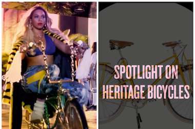 "Beyonce, in a screenshot from her ""Blow"" video. The Queen B ""spotlights"" local custom bike shop Heritage on her site this week."