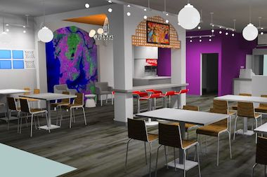 A rendering of the planned dining room for the fast-casual Indian restaurant coming to 330 E. Ohio St.