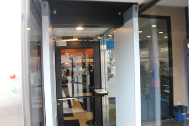 A Chase Bank branch in Grand Crossing opened in 2004 and did so with a front entrance metal detector.