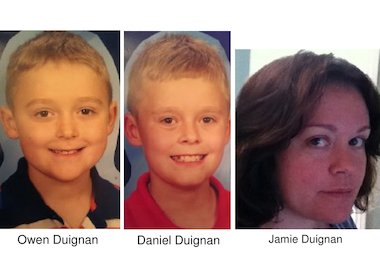Police said Owen and Daniel Duignan were taken by their mother, Jamie Duignan.
