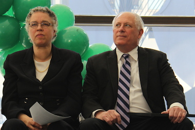 Cook County Board President Toni Preckwinkle and Gov. Pat Quinn wait to speak at Tuesday's pay-equity rally.