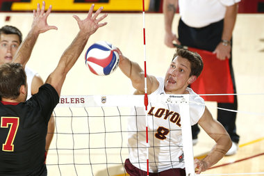 Loyola University's men's volleball team clinched its second straight national title after defeating Lewis University Saturday night at Stanford University.