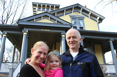 "Ron and Robyn Schwartz, pictured with their daughter, are selling their dream home and moving to the suburbs because ""the Chicago school system is the problem."""