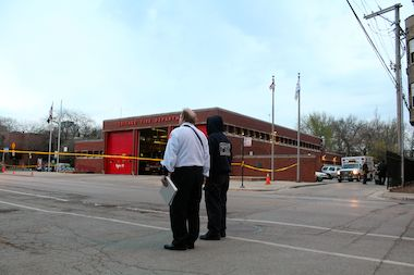 The firehouse at 605 W. Armitage Ave. was evacuated Sunday night after a suspicious package was found.