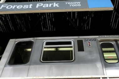 Blue Line service was suspended between UIC and Pulaski following a derailment.