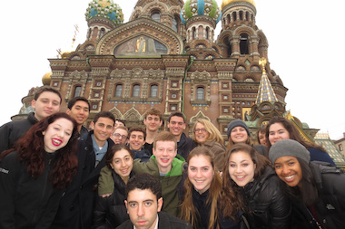 Students from Francis W. Parker School pose for a photo while in Russia for the annual Saint Petersburg International Model United Nations Conference.