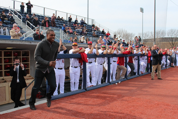 New York Mets outfielder Curtis Granderson threw out the first pitch at a new UIC baseball stadium Thursday. Granderson donated $5 million - the largest largest gift in UIC Athletics history - toward the creation of the $10 million stadium.
