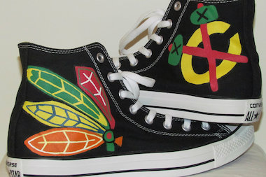 High school freshman Liz Spurlock has custom-painted Blackhawks logos on Converse All-Stars shoes.