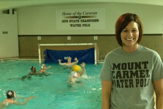 Tina Grunauer is the first-year water polo and swimming coach at all-boys Mount Carmel High School.
