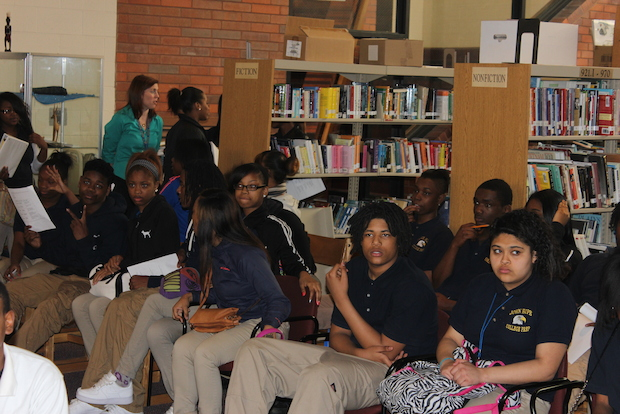 Students at John Hope College Prep received mentoring and academic advice April 9, 2014 from volunteers with the nonprofit Diplomas Now.