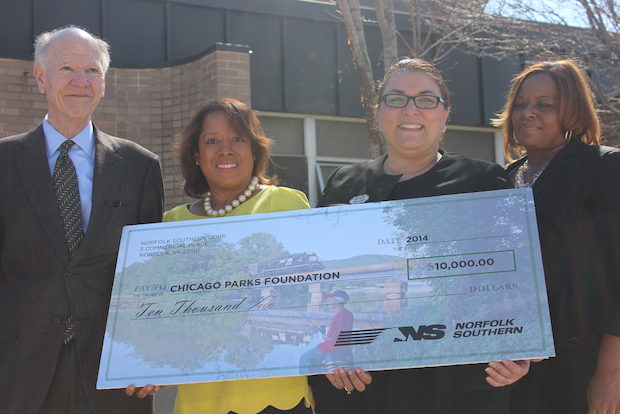 Norfolk Southern Corp. April 11, 2014 donated $10,000 to Sherwood Park in Englewood and $25,000 to Chicago Public Schools.