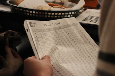 "Every puzzler gets a code sheet and ""Puzzling Basics"" primer at the pub game night."
