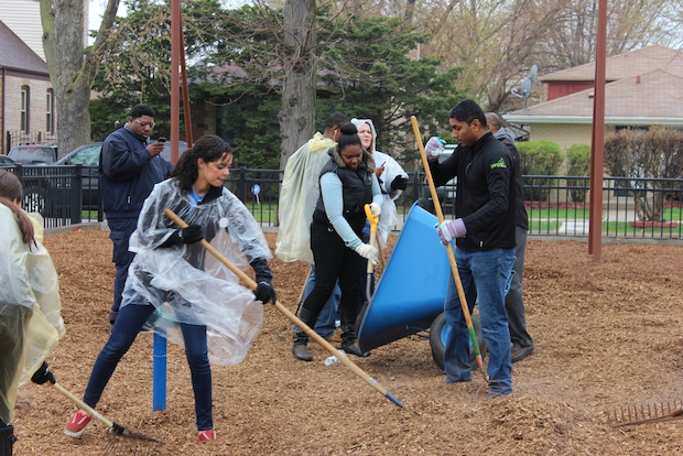 Volunteers helped spruce up Murray Park in West Englewood Wednesday.