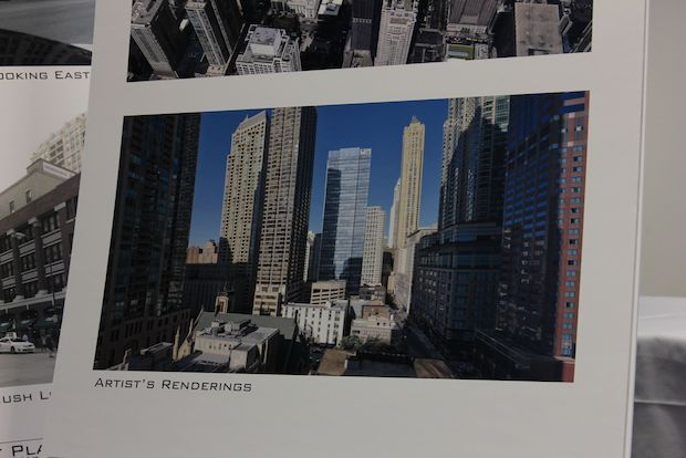 A 444-foot glass tower planned for the corner of Rush and Superior streets was presented Monday to community members.