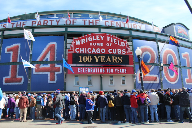 Fans celebrated 100 years of Wrigley Field on Wednesday.