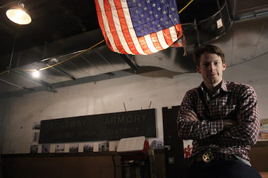 Jackalope Theatre Co. member Andrew Swanson stands in the Broadway Armory. The armory will be the spot of several Three Days on Thorndale events Thursday to Saturday.