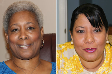 Ald. JoAnn Thompson (16th), left, whose ward includes Englewood, said she is disappointed that Ald. Toni Foulkes (15th) plans to run against her in the 2015 city elections.