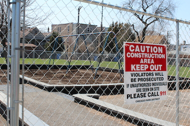 The Kucinski-Murphy playlot is closed as crews work to install a new playground.