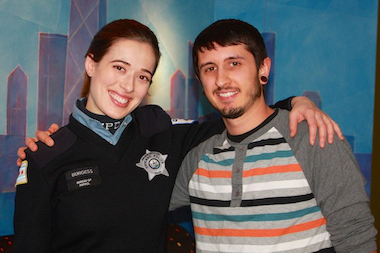 """Chicago PD"" star Marina Squerciati, a Northwestern University graduate, and Bam Studios engineer Sean Sbarbori."