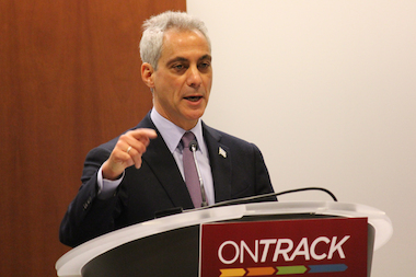 Mayor Rahm Emanuel touted an 82 percent projected graduation rate at a news conference Thursday.