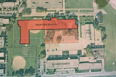 A map of Stanton Park with an outlay of the proposed Obama College Prep location.