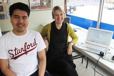 A Stanford University research team — including computer science student Sukolsak Sakshuwong (l.), 25, and researcher Tanja Aitamurto, 35 — has developed a website that could eventually allow residents to vote for 49th Ward budgeting projects from home.