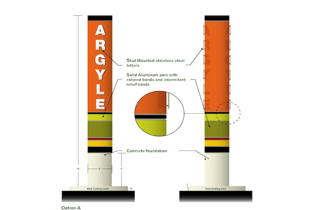 "The city's makeover of the  Argyle Street  area in Uptown will include a 15-foot high vertical identifier bearing the words ""Argyle"" just south of the intersection of West Argyle Street and North Broadway"