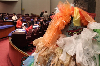 A plastic bag monster was used to lobby for a ban at a City Council hearing last year.