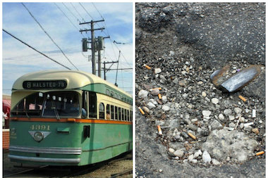 The pothole shows the rail once used by electric streetcars, cable cars, and even horse-drawn streetcars.