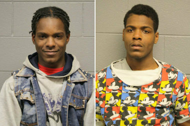 Quran Guyton (r.), of the 10100 block of South Aberdeen Street, and Alvin Guyton, of the 2800 block of East 79th Street, were both ordered held on $80,000 bond.
