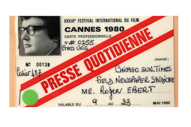 Roger Ebert's press pass from the 1980 Cannes Film Festival.