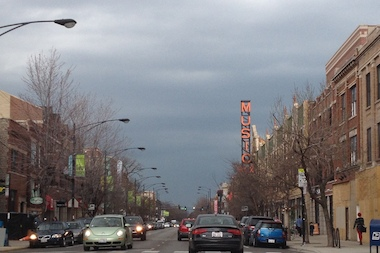 Dark skies are seen over the Music Box Theater in Lakeview.