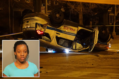 Makeeba Gates, 20, of the 8800 block of South Clyde Avenue was arrested shortly after crashing into a police car at 89th Street and Jeffery Boulevard at 10:45 p.m. Sunday, police said.