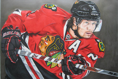 "Brian Schuster is the painter behind ""Draw The Jerseys,"" which has a Blackhawks jersey painted or drawn into most of the paintings he creates. Here is a painting of Hawks defenseman Duncan Keith."