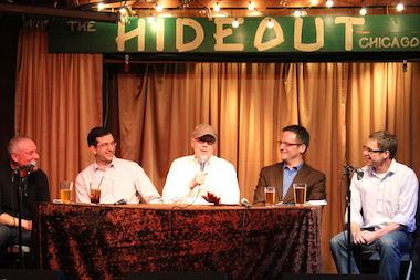 "Dick Mell discusses his unapologetic attitude toward political patronage at "" First Tuesdays With Mick & Ben "" at the Hideout in April. Mell is seen with Ben Joravsky, Aldermen Scott Waguespack and Joe Moreno and Mick Dumke."