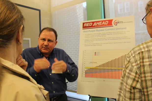 The CTA hosted an open house on Thursday, May 22 at the Town Hall Police District community room to answer questions about the $320 million Belmont Bypass project.