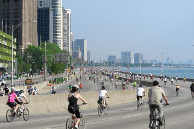 Cyclists take over Lake Shore Drive during the annual Bike the Drive event, seen here in 2010.