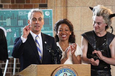 "Mayor Rahm Emanuel announced the return of ""Night Out in the Parks"" at the Douglas Park field house Thursday."
