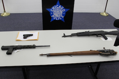 Guns confiscated by Chicago Police.