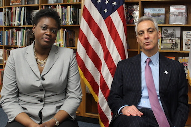 CPS' Chief Health Officer Stephanie Whyte and Mayor Rahm Emanuel champion the expansion of a citywide program providing eye exams to students.
