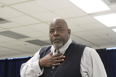 Jitu Brown, of the Kenwood Oakland Community Organization and the Dyett Academic Center Local School Council, and other supporters took their case for keeping Dyett open to Board of Education President David Vitale on Tuesday.