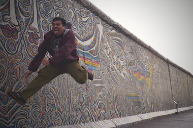 Lincoln Park High School graduate Enrique Casas Jr. is heading to Harvard University later this year. But first he's heading around Europe, including this silly stop at the Berlin Wall in Germany.