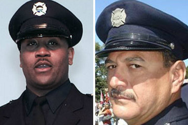 Chicago firefighters Corey D. Ankum (l.) and Edward Stringer were killed in fire in 2010 when a roof collapsed at an abandoned building that had caught on fire.