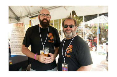 Forbidden Root brewer BJ Pichman (l.) and owner Robert Finkel at a beer event.