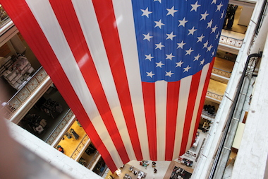 The world's largest American flag to be displayed inside a department store will honor veterans from Thursday to July 7 at Macy's, 111 N. State St.